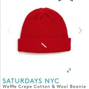 Saturdays New York City Accessories - Saturdays NYC waffle Crepe Beanie - brand new